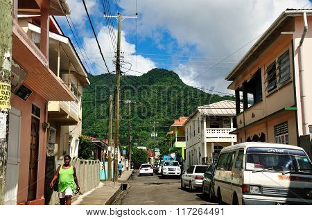 People And Cars In Soufriere