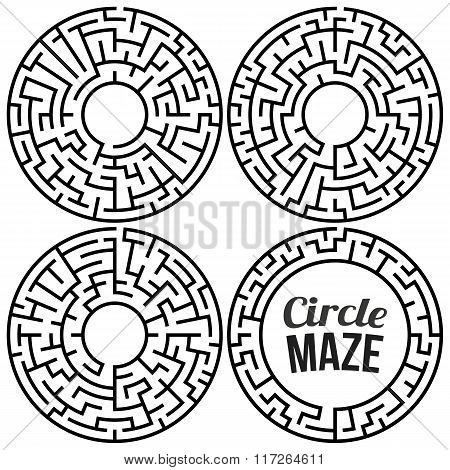 Circle Maze Vector Set