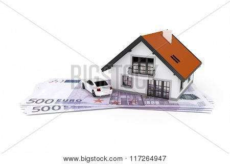 A house and a car above 500 Euro banknotes