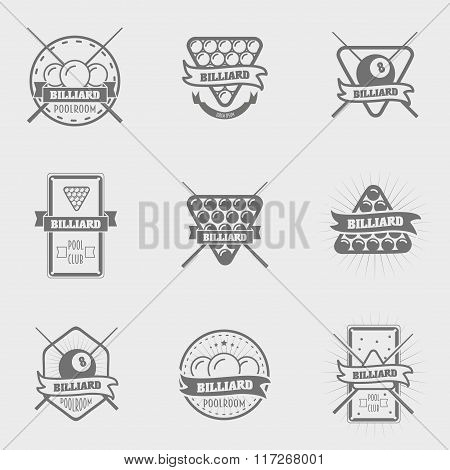 Set Of Vintage Billiard Labels, Emblems And Logo. Can Be Used For Design Posters, Flyers Or Cards