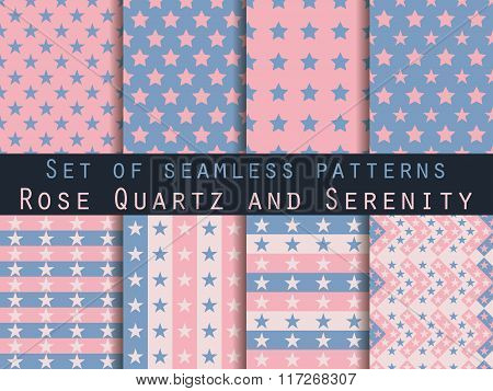 Stars. Set Seamless Patterns. Rose Quartz And Serenity Violet Colors. Color Trend In 2016. The Patte