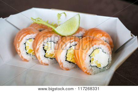 set of sushi, Japanese, salad, ginger, wasabi, in a box