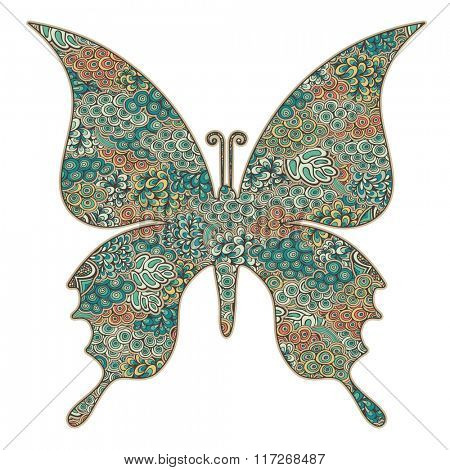 Butterfly silhouette  filled with pattern, vector illustration