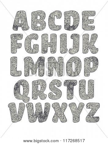 Vector alphabet, letters filled with pattern, black and white version