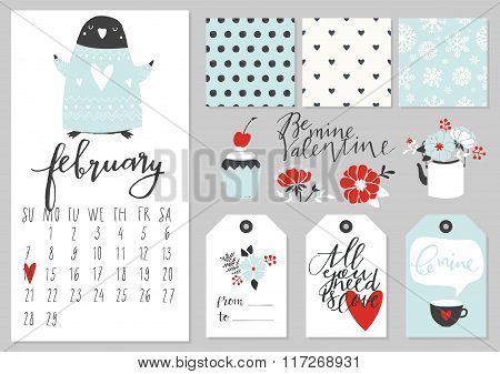 Calendar for february 2016 with penguin