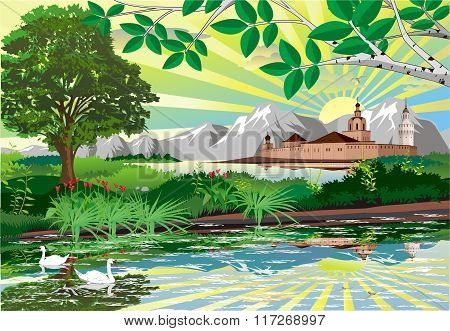 Nature Background. The Castle Above The Lake [