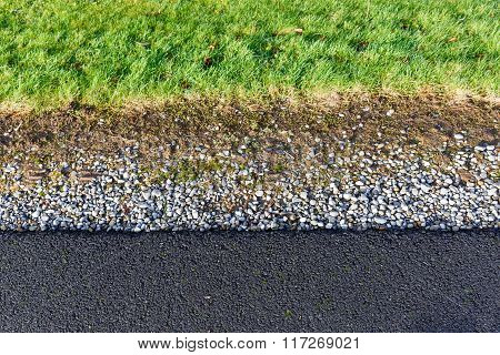 Gray Gravel And Green Grass Pattern