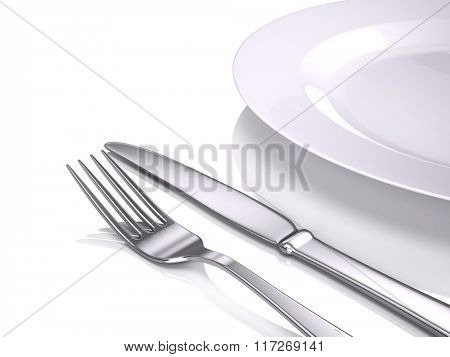 Empty plate, Fork and knife isolated on white