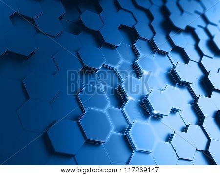 Hexagonal abstract background - 3d render