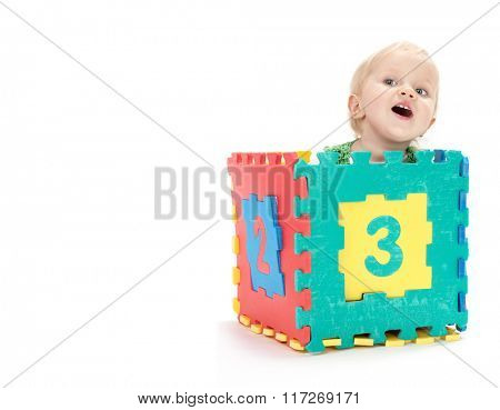 little child baby smiling isolated on white studio shot playing with numbers learning count