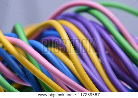Macro of the telecommunications colorful cables