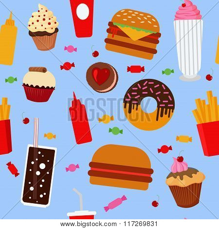 Fast Food Seamless Pattern With Sweets, Candies, Cupcakes And Burgers