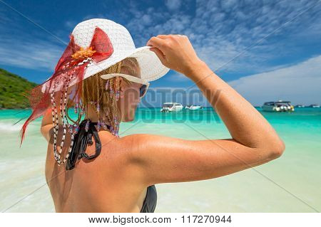 Tourist looks blue tropical sea