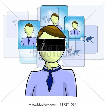 Illustration Of Virtual Reality Person With Virtual Friends