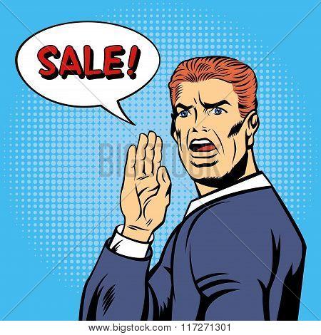 Pop Art Style Sale Poster. Vintage Man Shouts Sale In Comics Style