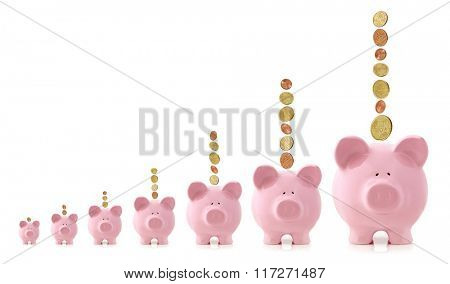 Pink piggy banks increasing in size, with Euro coins falling.  Growing investment concept.