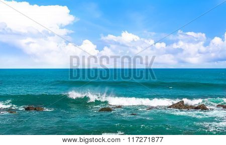 Big Wave With Sea Foam And Turquoise Water.
