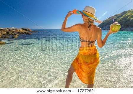 Woman with coconut juice