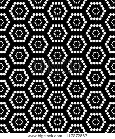Vector modern seamless geometry pattern hexagon black and white abstract