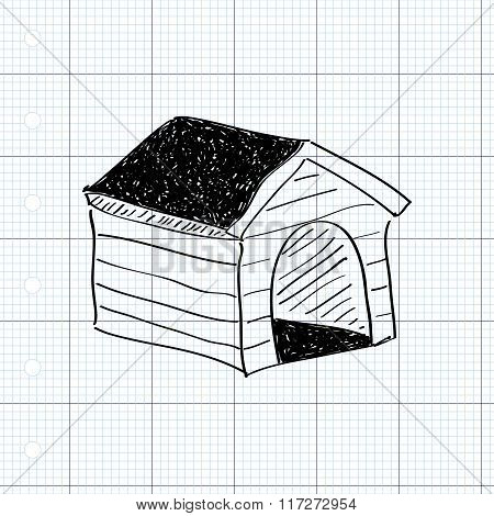 Simple Doodle Of A Dog Kennel