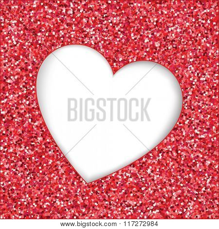 Red glitter texture with heart cutout frame. White background with space for text.