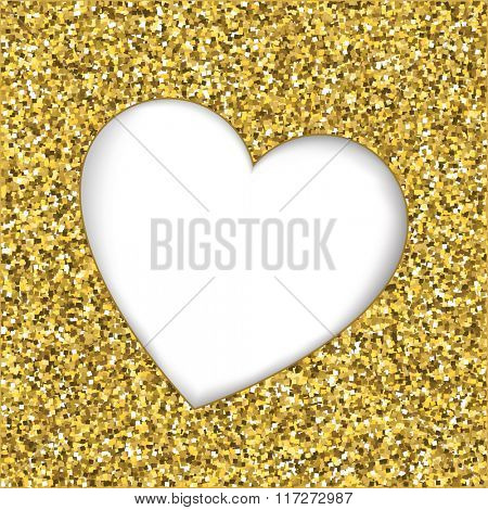 Gold glitter texture with heart cutout frame. White background with space for text.