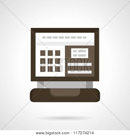 Car computer diagnostic flat color vector icon