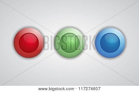 Set Of Glossy 3D Buttons