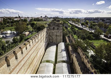 Greenhouses And Agricultural Activities Near Yedikule Fortress Wall Ruins And Tower In Istanbul, Tur