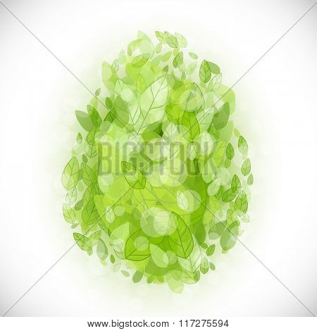 Beautiful card Easter egg with green leaves. Vector illustration