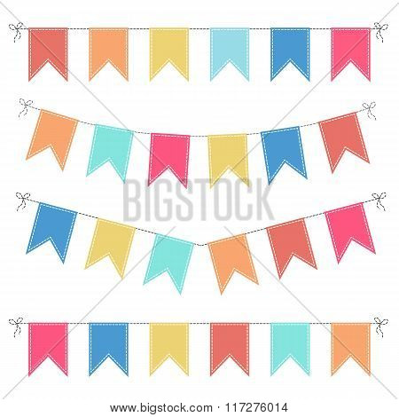 Set Of Multicolored Flat Buntings Garlands