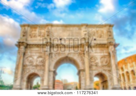Defocused Background With Arch Of Constantine, Rome, Italy