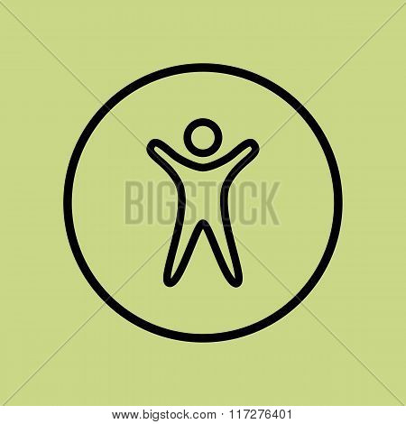 Man Icon, On Green Background, Circle Border, Dark Outline