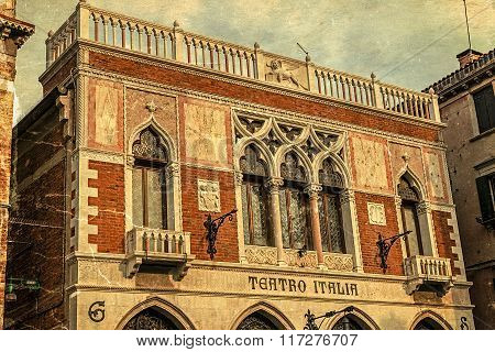 Old Postcard With Italia Theater Facade In Venice, Italy