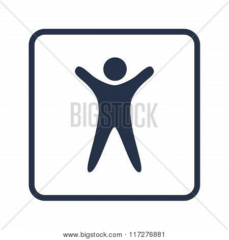 Man Icon, On White Background, Rounded Rectangle Border, Blue Outline