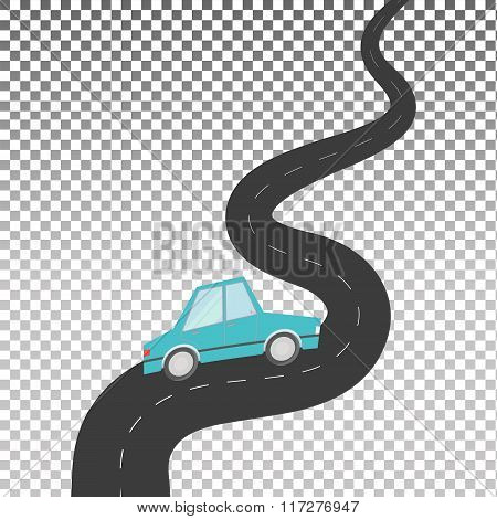 The car on a winding road.