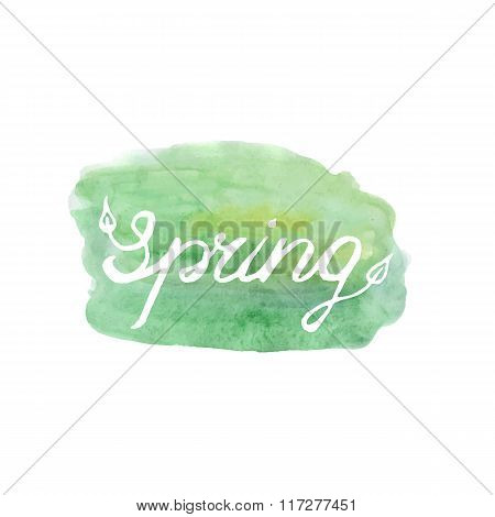 Spring vector lettering on green abstract backgr