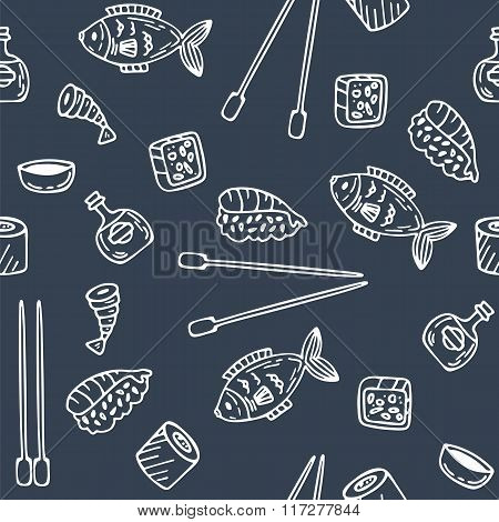 Sushi And Rolls Seamless Pattern. Hand Drawn Sketch Japanese Food Seamless Background. Sushi Texture