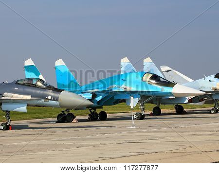 RYAZAN REGION  AUGUST 8: Russian fighter jets parked at a military airbase - on August 8, 2015  in Ryazan region