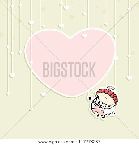 Romantic Valentine's Day card with a cute cupid and space for your text or photo (raster version)