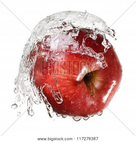 Red Apple In Splash Of Water