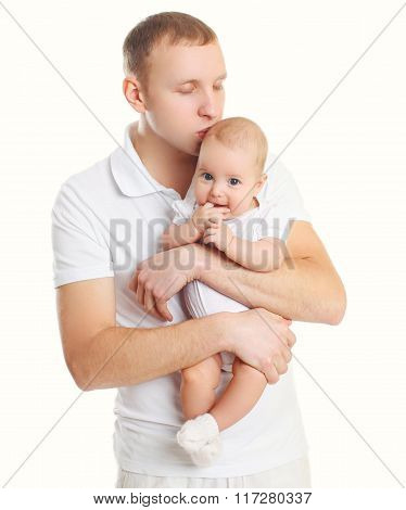 Happy Young Father Hugging Baby On White Background