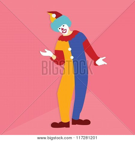 funny circus clown smile at party wearing colorfull clothes standing
