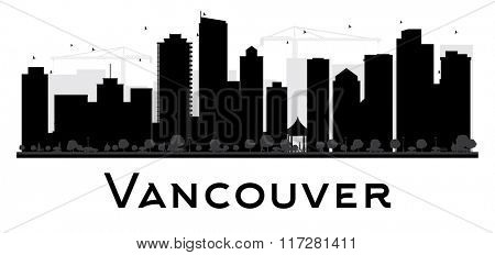 Vancouver City skyline black and white silhouette. Simple flat concept for tourism presentation, banner, placard or web site. Business travel concept. Cityscape with famous landmarks