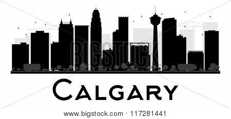 Calgary City skyline black and white silhouette. Simple flat concept for tourism presentation, banner, placard or web site. Business travel concept. Cityscape with famous landmarks