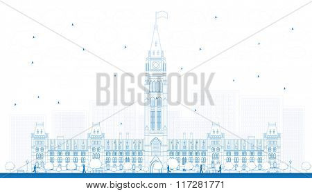 Outline Parliament Building in Ottawa, Canada. Business Travel and Tourism Concept with Historic Building. Image for Presentation Banner Placard and Web Site.