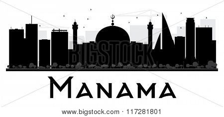 Manama City skyline black and white silhouette. Simple flat concept for tourism presentation, banner, placard or web. Business travel concept. Cityscape with landmarks