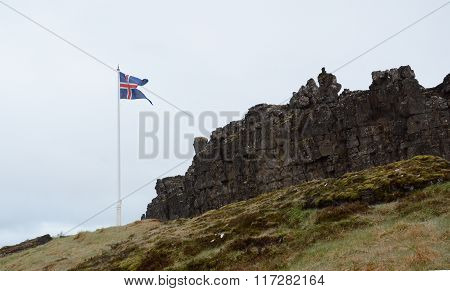 Flag At Thingvellir