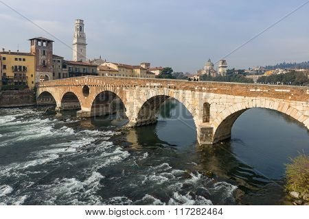 Ponte Pietra In The Old Town Of Verona