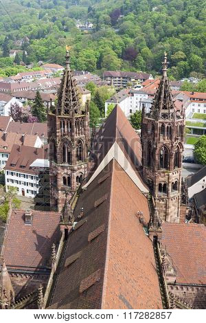 Towers Of Freiburg Munster Cathedral, Freiburg Im Breisgau City, Germany